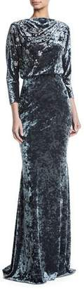 Badgley Mischka Long-Sleeve Blouson-Top Beaded Crushed Velvet Evening Gown