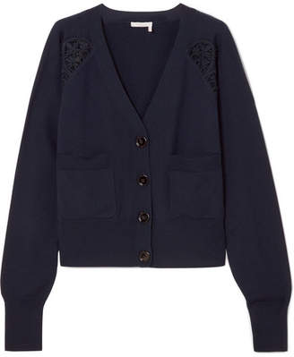 Chloé Cotton-blend Lace-trimmed Wool Cardigan - Navy