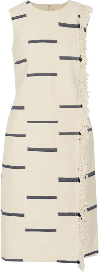 Tory BurchTory Burch Fringed slub cotton-blend dress