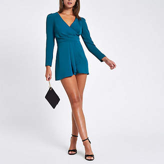 River Island Teal wrap front tie back romper