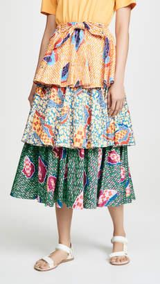 Stella Jean Tiered Mixed Print Skirt