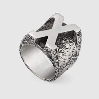 """Gucci Letter """"X"""" ring in silver"""