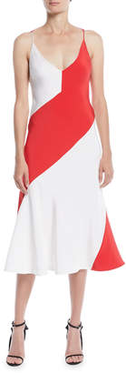 Calvin Klein V-Neck Sleeveless Colorblocked A-Line Dress