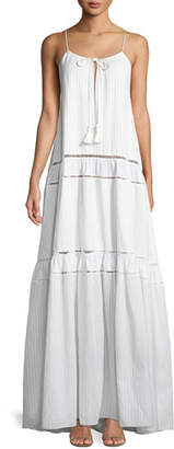 Jonathan Simkhai Scoop-Neck Sleeveless Tonal-Striped Maxi Tank Dress