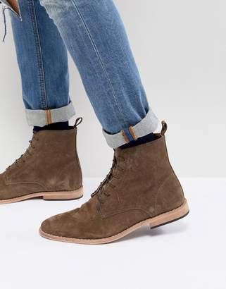 Asos DESIGN Lace Up Boots In Taupe Suede With Natural Sole