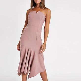 River Island Pink frill hem bandeau midi dress