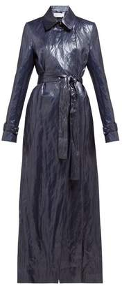 Gabriela Hearst Dunne Waxed Trench Coat - Womens - Dark Blue