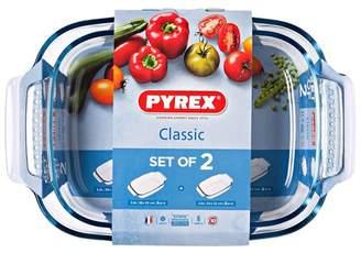 Pyrex Set Of 2 Borosilicate Glass 'Irresistible' Roasters