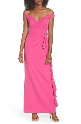Vince Camuto Laguna Off the Shoulder Scuba Gown