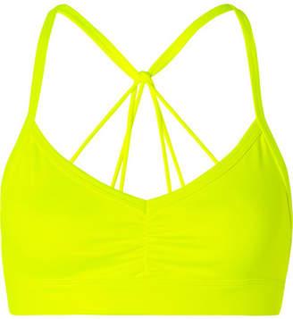 Alo Yoga Sunny Neon Ruched Stretch Sports Bra - Bright yellow