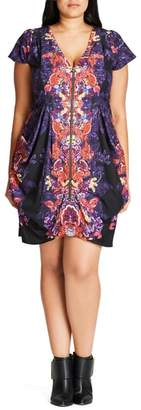 City Chic Mirror Orient Zip Front Tunic
