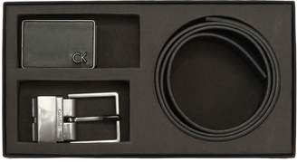 Calvin Klein Double Buckle Smooth Leather Belt Set