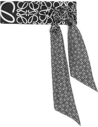 Loewe - Anagram Printed Silk-twill Scarf - Black $160 thestylecure.com