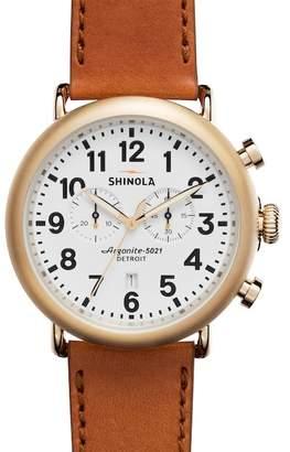 Shinola Men's Runwell Chrono 47mm Leather Strap Watch