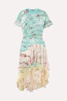 Preen by Thornton Bregazzi Paula Asymmetric Printed Devoré Silk-blend Organza Dress - Turquoise