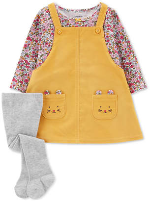 Carter's Baby Girls 3-Pc. Cotton Jumper, Top & Tights Set