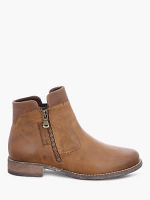 Josef Seibel Sienna 87 Block Heel Ankle Boots, Brown Leather