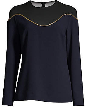 Escada Women's Nartan Long-Sleeve Illusion Blouse