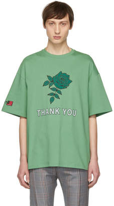 Lanvin Green Oversized Thank You Rose T-Shirt