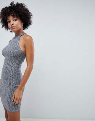 Asos DESIGN marl rib bodycon mini dress with racer neck
