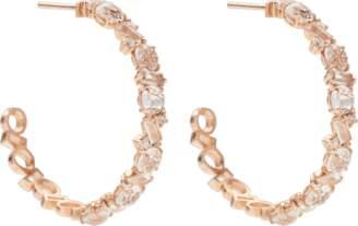Suzanne Kalan White Topaz Baguette Hoop Earrings
