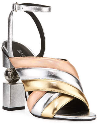 Balmain Jana Metallic Quilted Sandals
