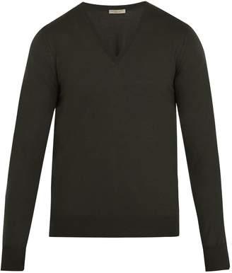 Bottega Veneta V-neck intrecciato-panelled wool sweater