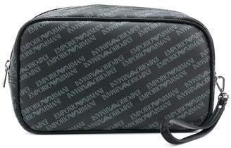 Emporio Armani logo print wash bag