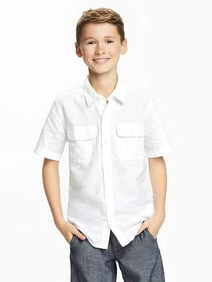 Double-Pocket Linen-Blend Shirt for Boys $19.94 thestylecure.com