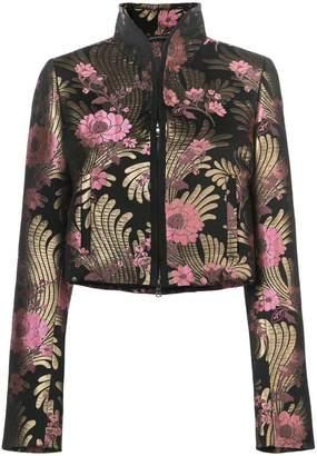 Josie Natori floral-jacquard jacket