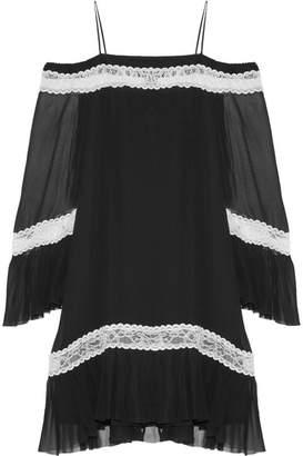 Alice + Olivia Alice Olivia - Willie Cold-shoulder Lace-trimmed Silk-chiffon Mini Dress - Black $535 thestylecure.com