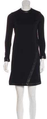Tom Ford Leather-Trimmed Long Sleeve Dress
