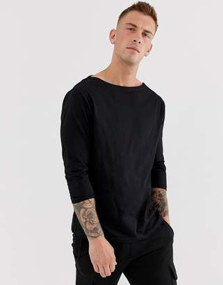 Asos Design DESIGN relaxed 3/4 sleeve t-shirt with boat neck in black
