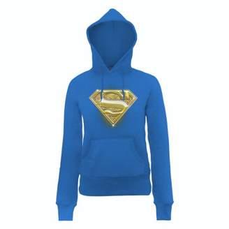 DC Comics Women's Official Superman Bling Logo Long Sleeve Hoodie,(Manufacturer Size:Small)