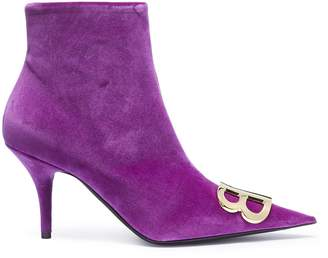 Balenciaga 'BB' logo plate velvet ankle boots