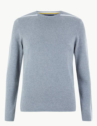 Marks and Spencer Pure Cotton Arm Stripe Crew Neck Jumper