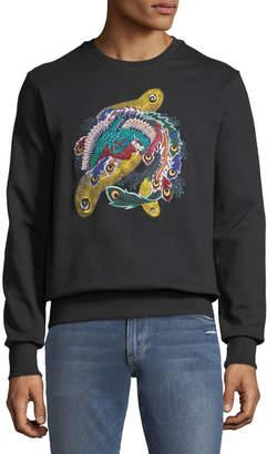 Eleven Paris Men's Feather-Embroidered Fleece Sweatshirt