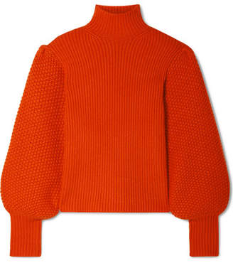 Chloé Wool-blend Turtleneck Sweater - Tomato red