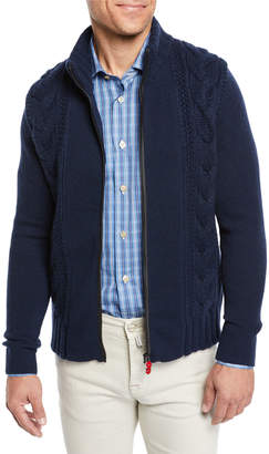 Kiton Men's Zip Cable Knit Cashmere Sweater