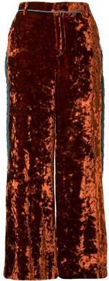 Facetasm cropped vlvet trousers