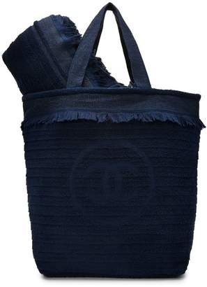 Chanel Navy Terry Cloth Beach Set