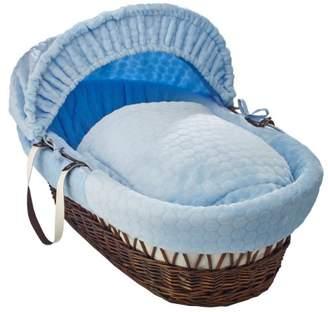 Clair De Lune Marshmallow Dark Wicker Moses Basket inc. bedding, mattress & adjustable hood (Blue)