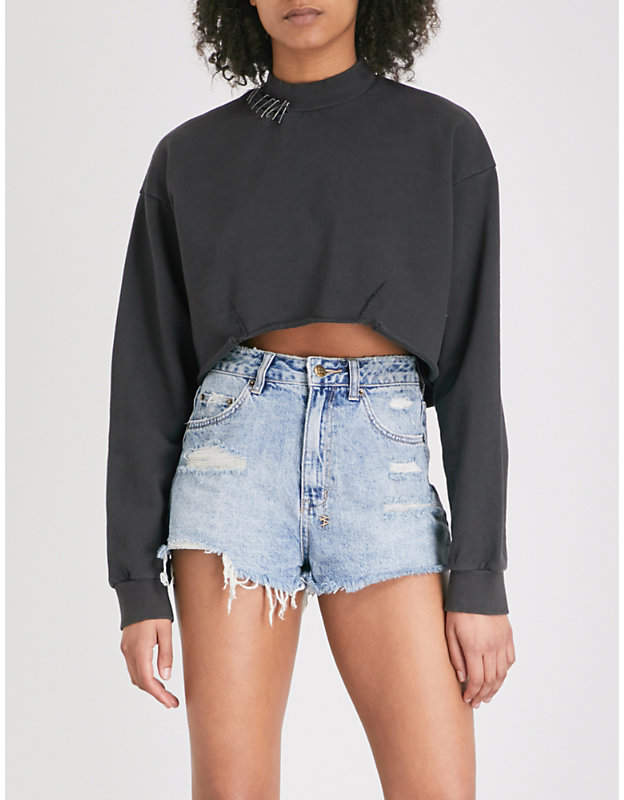 Dissect cropped cotton-jersey sweatshirt