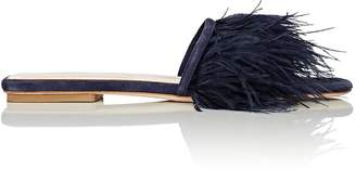 Barneys New York Women's Feather-Embellished Satin Slide Sandals