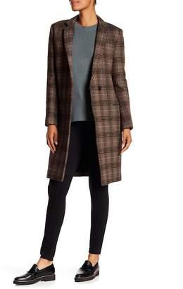 Theory Essentail Multi Plaid Wool Blend Coat