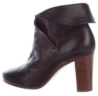Céline Layered Leather Ankle Boots