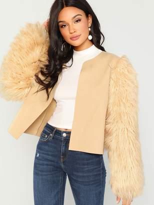 ee777ea77e Shein Open-front Faux Fur Sleeve Coat