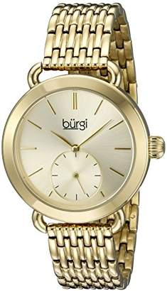 Burgi Women's BUR153YG Yellow Gold Multifunction Quartz Watch With Gold Dial and Yellow Gold Bracelet
