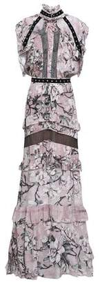 Just Cavalli Ruffle-Trimmed Floral-Print Crepe De Chine Gown