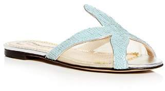 Charlotte Olympia Women's Sandy Sequin Starfish Slide Sandals